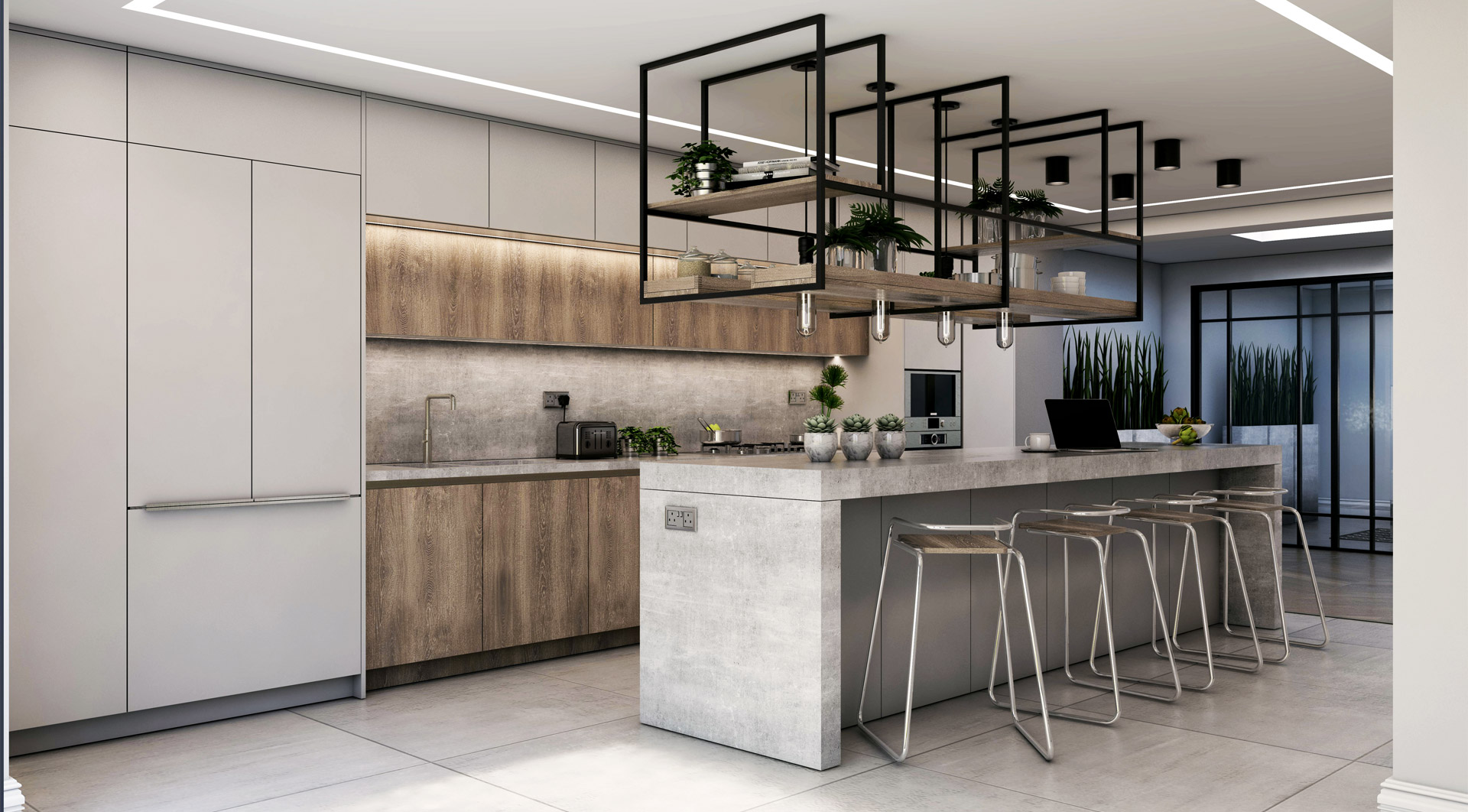 Bespoke, custom kitchen design London - New line kitchen design